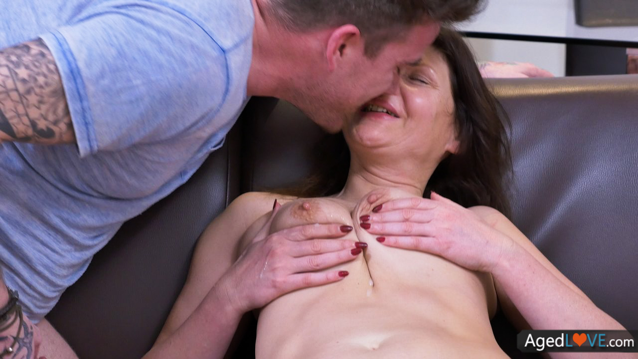 Fit senior damsel toying with stiff fuckpole