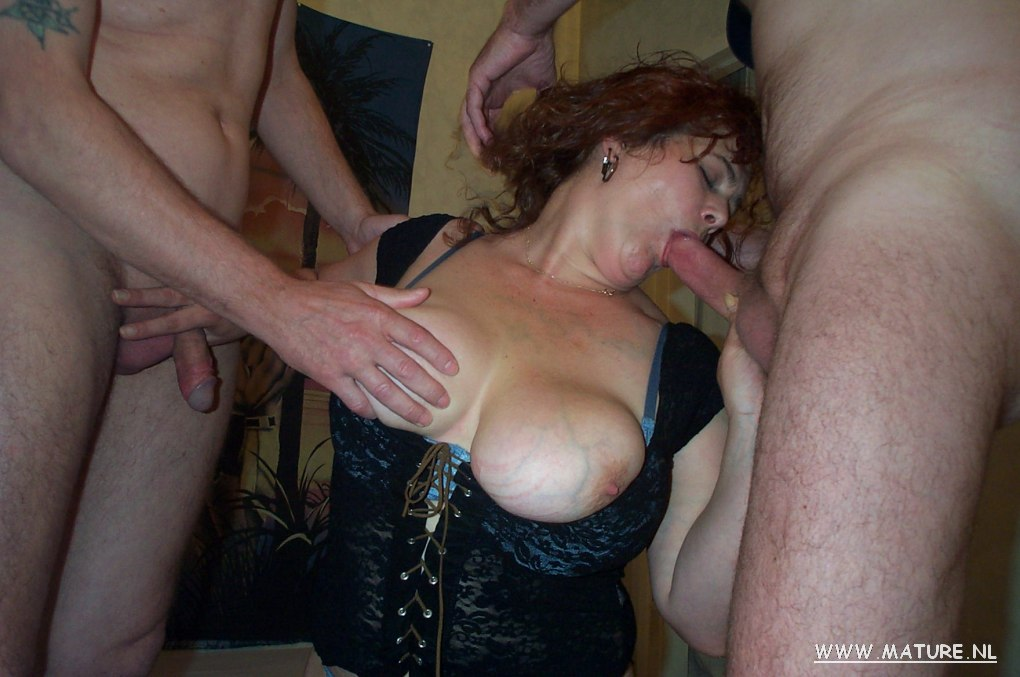 Giant boobed housewife getting done by 2 fellows